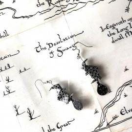 Boucles d'oreilles Nazgul – Collection «Terre du Milieu» - Bijou littéraire en papier plié