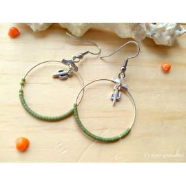 Boucles d'oreilles créoles perles de miyuki vert kaki, cactus, idée cadeau anniversaire
