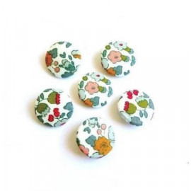 Boutons x 6 tissu Liberty Betsy Ann porcelaine taille en option