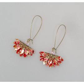 Boucles d'oreilles origami éventail en papier japonais rouge et rose