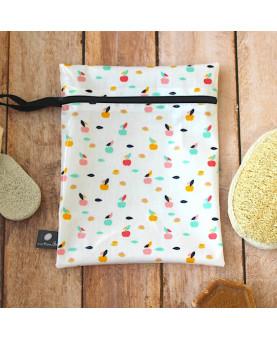 Pochette enduite Taille L pommes, trousse de toilette imperméable
