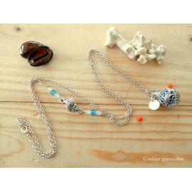 Bola de grossesse, coquillage, perles toupies, nacre, bleu, idée cadeau anniversaire