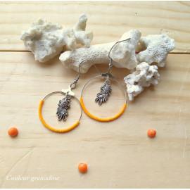 Boucles d'oreilles créoles perles de miyuki orange, poisson, idée cadeau anniversaire