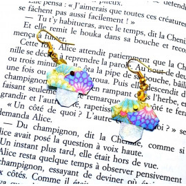 Boucles d'oreilles Champignon – Collection «Alice» - Bijou littéraire en papier plié