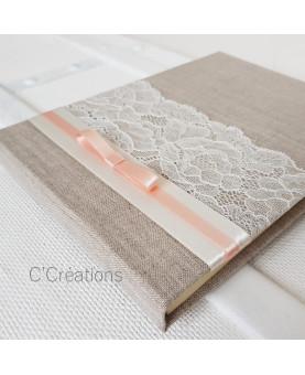 Livre d'or mariage - Lin & Dentelle - toile de lin, dentelle et satin