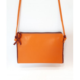 Pochette en cuir orange et brique