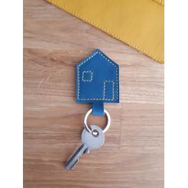 Porte clés en cuir bleu canard