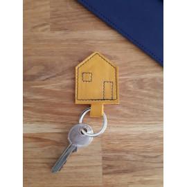 Porte clés en cuir jaune moutarde
