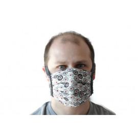 Masque lavable à lanières - non homologué - ton gris plumes