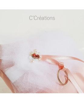 Coussin d'alliances mariage - Camyla - satin duchesse, tulle et cristal