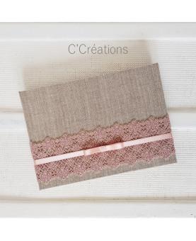 Livre d'or - Dentelle poudrée - en toile de lin, dentelle coloris rose poudré et satin