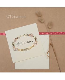 Carte Félicitations mariage - Leaf - coloris ivoire avec son enveloppe