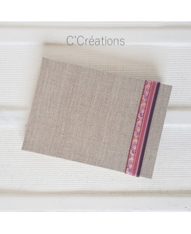 Livre d'or mariage - Sakura - toile de lin, galon fleuri et ruban de velours