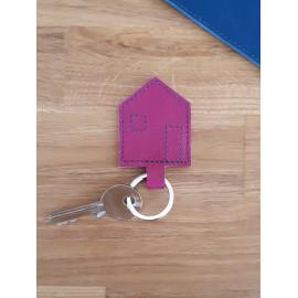 Porte clés en cuir fuchsia