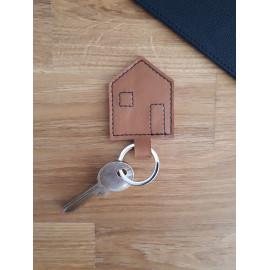 Porte clés en cuir marron