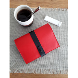 Blague à tabac en cuir rouge et noir