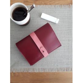 Blague à tabac en cuir bordeaux et rose