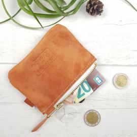 Porte Monnaie en cuir orange