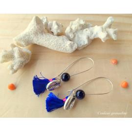 Boucles d'oreilles ethnique, dormeuse, coquillage, pompon, pierre de soleil, idée cadeau anniversaire