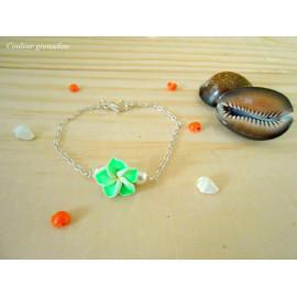Bracelet fleur de tiaré et perle, style bohème, minimaliste
