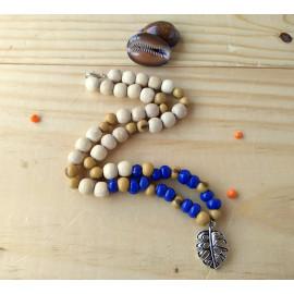 Collier perles en bois, bleu, style bohème, feuille tropicale, idée cadeau anniversaire