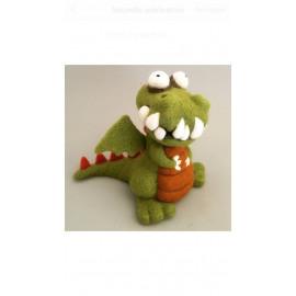 Dragon vert et orange en laine cardée feutrée à l'aiguille, article de décoration