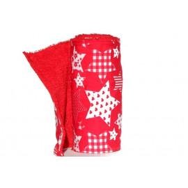 Rouleau d'essuie-tout lavable - 10 feuilles - étoiles blanc et rouge - coton et éponge