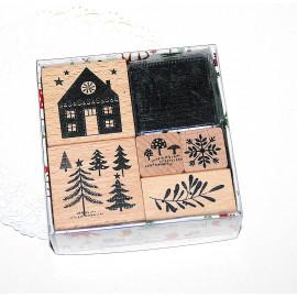 Lot tampons bois - Forêt hivernale - Rico Design
