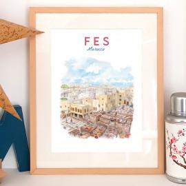 Affiche aquarelle Fès Maroc- poster tanneries traditionnelles