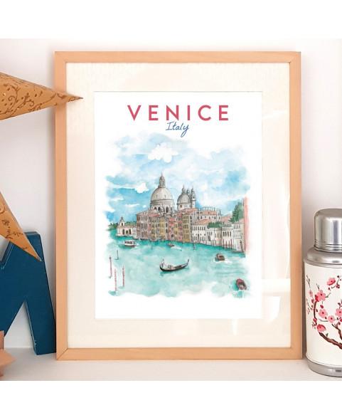 Affiche aquarelle Venice ITALY - poster de la lagune de la Sérénissime avec ses gondoles