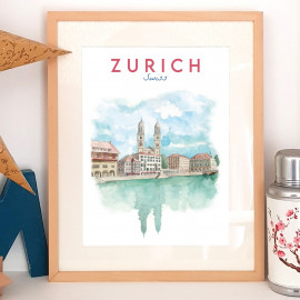 Zurich SWISS - Affiche - Reproduction