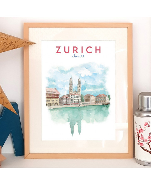 Affiche Zurich avec l'église Grossmünster sur les rives de la Limmat - poster de Suisse