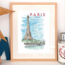 Affiche aquarelle Paris FRANCE - poster de la tour Eiffel et la Seine