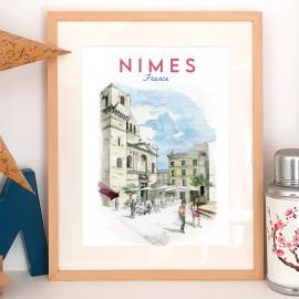 Affiche aquarelle Place aux Herbes - Nîmes FRANCE - poster vue sur la cathédrale Saint Castor
