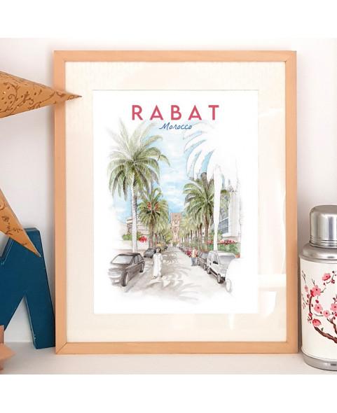 Affiche aquarelle rue Al Marinyines - rue de Rabat avec Palmier et Tour hassan en fond de perspective - poster Maroc