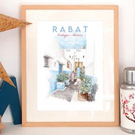 Affiche aquarelle d'une ruelle de la kasbah des Oudayas de Rabat - en blanc et bleu - poster du Maroc