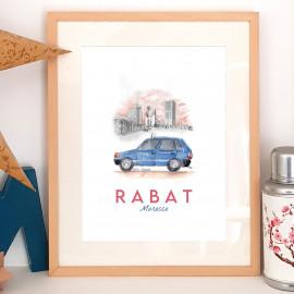 Affiche aquarelle Petit taxi bleu de Rabat - poster MAROC