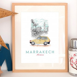 Affiche aquarelle Petit taxi beige de Marrakech - poster MAROC