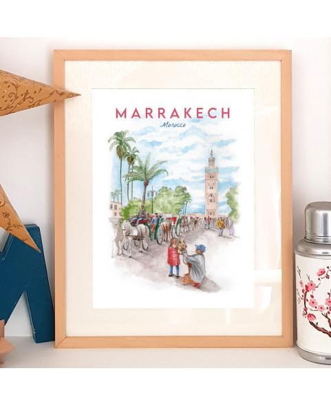 Affiche aquarelle de Marrakech - poster Place Jemaa El-Fna - Maroc- Les calèches devant la Koutoubia