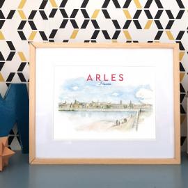 Affiche aquarelle Bords du Rhône à Arles FRANCE - poster quartier de la Roquette