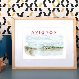 Affiche aquarelle du pont d'Avignon - poster Cité des Papes FRANCE