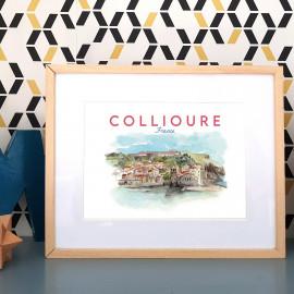 Affiche aquarelle de Collioure FRANCE - poster Port Catalan de la côte Vermeille