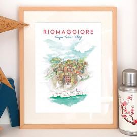 Affiche aquarelle Riomaggiore ITALY - poster des Cinque Terre ses façades colorées le bleu de la méditerranée