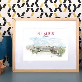 Affiche aquarelle Maison Carrée - Nîmes FRANCE - poster de la vue panoramique depuis la terrasse du Carré d'Art