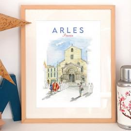 Affiche Cathédrale St Trophime - sur la place de la République poster Arles FRANCE