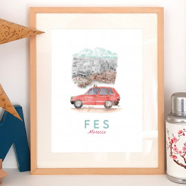 Affiche aquarelle Petit taxi rouge de Fès - poster MAROC