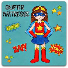 Carte Super Maîtresse fin d'année super héroine héros