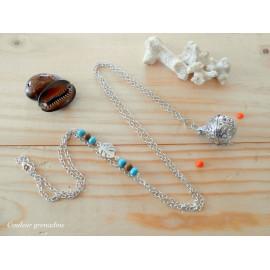 Bola de grossesse, feuille tropicale, perles en bois de santal, turquoise, idée cadeau anniversaire