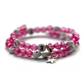 Bracelet d'allaitement de couleur rose foncé - perles acrylique à facettes