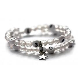 Bracelet d'allaitement de couleur blanc transparent - perles acrylique à facettes